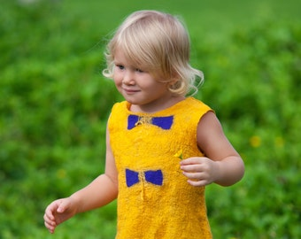 Girls yellow dress silk girl dress size 4 years xs nuno felt dress unique nunofelting merino wool dress handwoven felting silk organic dress