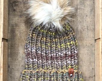 Hand Knit Snowboarder Chloe Kim Inspired Beanie Tundra Faux Fur Pom Bulky Yarn Handmade Skiing Snowboarding Sledding Winter Snow Hat