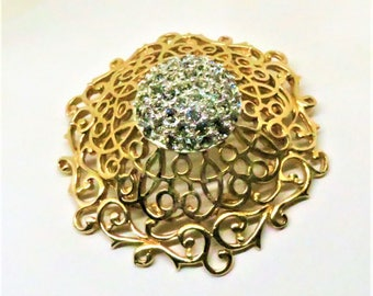 Rhinestone Brooch - Vintage, DiNicola Signed, Gold Tone, Swirled Domed Pin