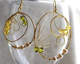 Gold Hoop Earrings, Gold Sunflower Earrings, Playful Mismatched Earrings, Pearls and Crystals Hoop Earrings