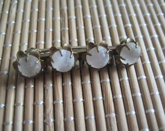 Antique Camphor Glass Cabochons in Gold Tone Bar Pin