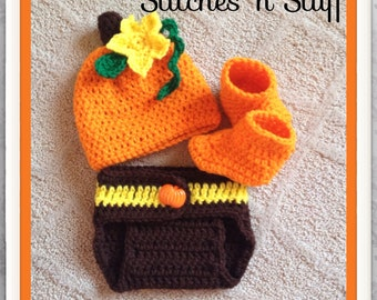 Pumpkin Hat and Diaper Cover and Bootie Set