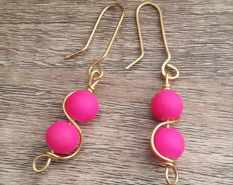 Hot Pink and Gold Wire Dangle Earrings