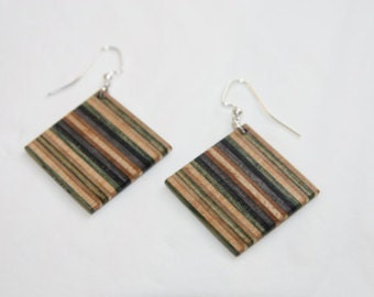 Recycled Skateboard Earrings Handmade Upcycled by Duque Skate Art