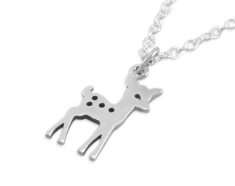 Deer Fawn Necklace, Sterling Silver, woodlands birthday party little girls gifts, childrens jewelry, for niece, granddaughter, sisters, FAWN