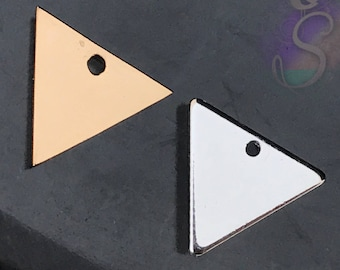 4 Stainless Steel Triangle Stamping Blank, 12mm x 13mm Triangle Charm, Gold or Silver Non Fade Tarnish Resistant, Resin Blank, Engravable