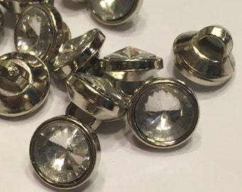 10 round acrylic rhinestone buttons, 10 mm (B7)