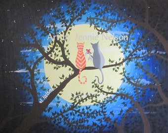 Cats In The Moonlight Digital Download of Acrylic Painting