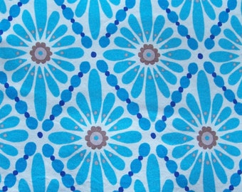 Fabric - Turquoise with brown Diamond Floral by Victoria Wells for Free Spirit