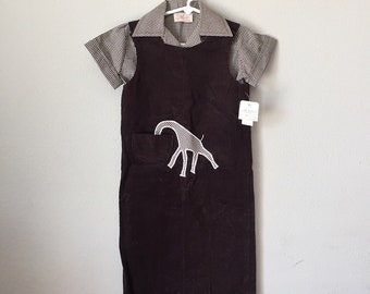 Vintage 1960s Overalls - 60s 70s Chocolate Brown Novelty Giraffe Corduroy Overalls Playsuit Winter Longalls Toddler Child 2T 3T 3