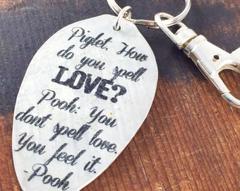 Winnie the Pooh Keychain, How Do You Spell Love Pooh and Piglet Friend keychain, Winnie the Pooh Gift for Anniversary, Birthday Gift