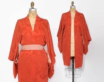 Vintage 60s Silk KIMONO Jacket / 1960s Rust Floral Boho Haori Duster
