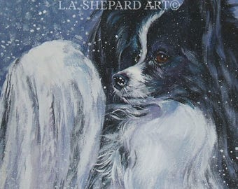 "PAPILLON PORTRAIT PRINT of LAShepard painting 12x12"" xmas dog art"