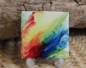 Rainbow Flames // Alcohol Ink Painted Ceramic Tile // Hand painted One of a Kind Abstract Art // Magnet Option