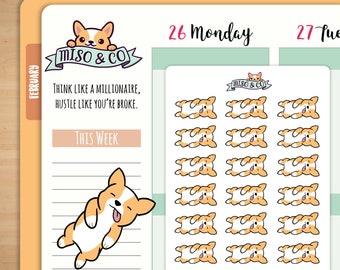 Miso Corgi Sleeping Planner Stickers | Erin Condren Stickers, Happy Planner, TN, Tired, Nap Time, Zzz, Sleepy