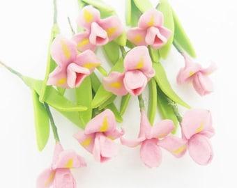 Miniature Polymer Clay Flowers Supplies Light Purple Iris 10 stems
