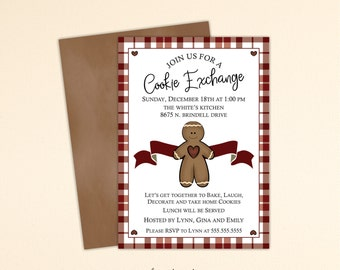 Christmas Cookie Exchange Invitation, Christmas Cookie Invitation, Cookie Swap, Holiday Cookies, Christmas Birthday Party, C13010