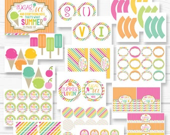 "INSTANT DOWNLOAD Summer ""Lovin' Ice Cream"" Social Girls Birthday Digital Printable Party Package"