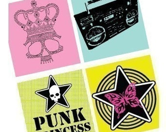 Punk Princess - Super Teen Funky - 1 (one) Inch (25mm) Pendant Squares - Digital Sheet - Buy 2 get 1 Free - Instant Download - Scrapbooking