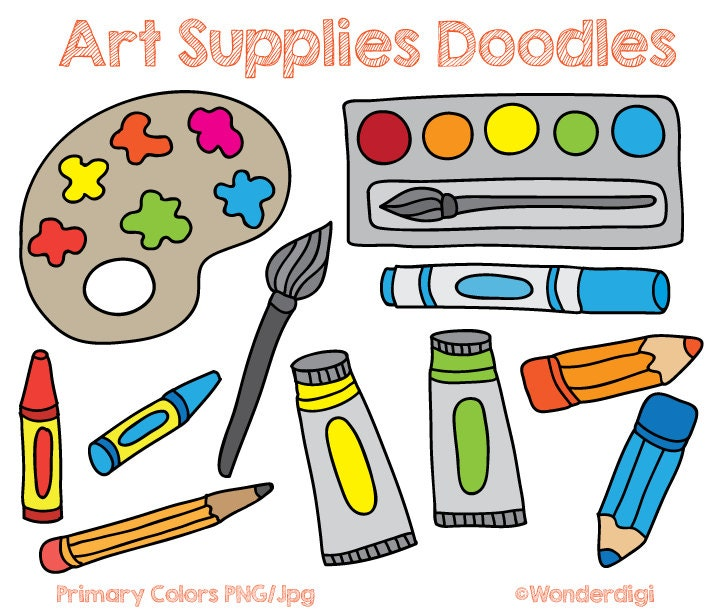 art supplies clip art doodles kids clipart school clipart rh etsy com clipart of back to school supplies free clipart of school supplies