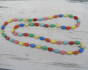 Necklace 30 Inch in multi color stones, Natural Retro, Boho Jewelry.