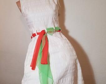 FREE  SHIPPING  1960  MOD Cotton  Hourglass  dress