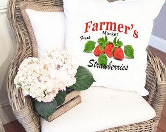 Strawberry decorative pillow cover - Farmers Market Pillow Cover - Summer Pillow - Fruit Pillow - Country Decor