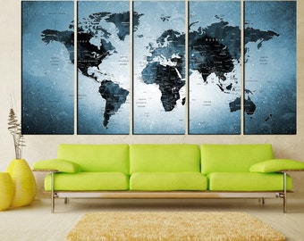 Old Push Pin world map canvas print, travel map wall art, watercolor world map push pin canvas art with details extra large wall art No:6S09