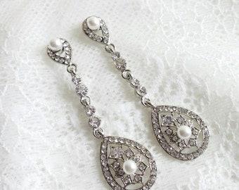 Wedding earrings, 1920's bridal earrings, Bride chandelier Earrings, Edwardian earrings, CZ earrings, bridal jewelry, Victorian earrings