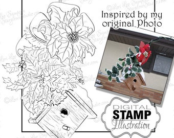 Christmas Birdhouse Digital Stamp, Holiday Digital Stamp, Poinsettia Garden Art Digi Stamp Download, Winter Clipart (01710b0v)