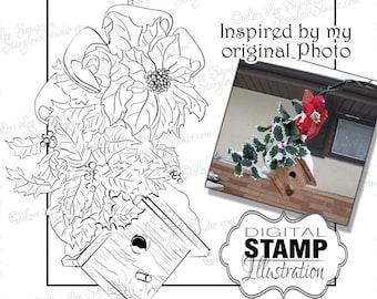 Christmas Birdhouse Digital Stamp, Holiday Digital Stamp, Poinsettia Garden Art Digi Stamp Download, Winter Clipart (01710b0v)
