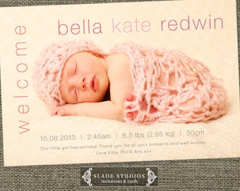Welcome baby birth announcement photo cards. Printable.