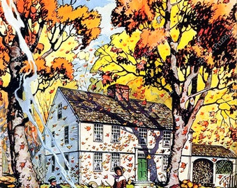 Hand-cut wooden jigsaw puzzle. FALLING LEAVES. House Beautiful magazine cover. Wood, collectible. Bella Puzzles.
