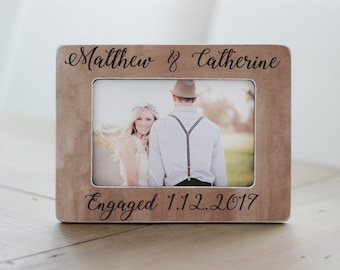 Personalized Engagement Gift She Said Yes Personalized Rustic Picture Frame GIFT Engagement Frame Gift for Couple Engagement Party