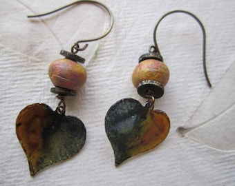 Autumn Hearts Earrings, Moss Green and Gold, Hand Painted Artisan Earrings, Aluminum, lightweight, Brass accents, Hand made stoneware beads