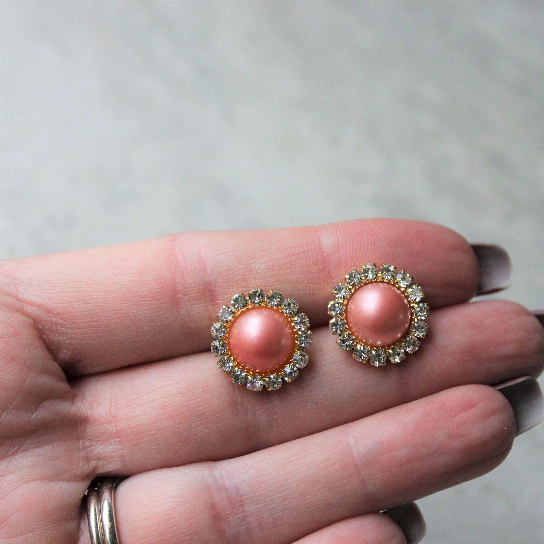 Coral Earrings, Coral Pearl Earrings, Coral Bridesmaid Jewelry, Gold ...