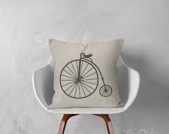 Bicycle pillows bicycle decorative throw pillow vintage bike pillow shabby chic pillow throw pillow industrial