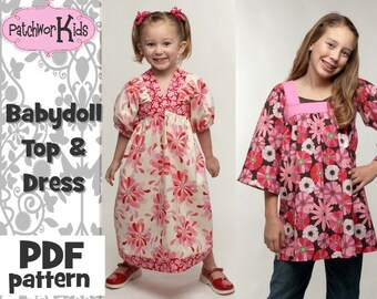 Baby Doll Top\/Dress Girl, Baby Boutique Style Ebook Pattern Tutorial