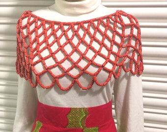 New Elegant Wedding Beaded Coral Top