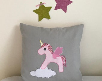 Unicorn Patchwork Pillow Cover