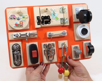 Busy Board Sensory Wooden Children's Fine Motor Travel Montessori Autism Game Natural Newborn Decorative Gift Idea 1st Toys Activity Boards