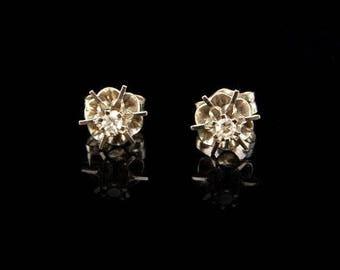 Vintage Diamond 14k White Gold Stud Earrings