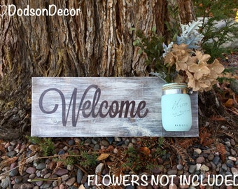 Mason Jar Wood Wall Hanging, Welcome Sign, Hand Painted, Distressed, Home Decor, Wall Decor, Rustic, Shabby Chic, Country Chic, Vintage
