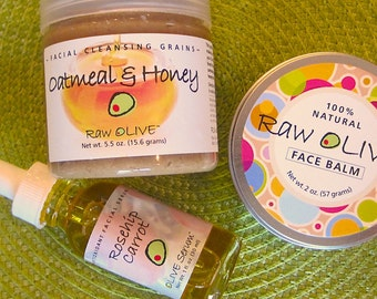 Facial Starter Kit - 100% Natural - Oatmeal & Honey Cleansing Grains, Rosehip Carrot Serum, Olive Face Balm