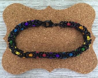 Byzantine Chainmail Bracelet Rainbow Black  Gay LGBT PRIDE