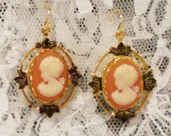Carnelian Lady Cameo Earrings with Goldplate Earwires