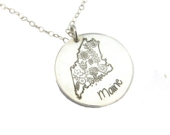 State Necklace - Silver Necklace - Personalized Jewelry - Silver State Charm - Coordinates Jewelry