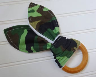 Camouflage Wooden Teether-Natural Teething Ring-Baby Gift-Organic Wooden Teether -Bunny Teether