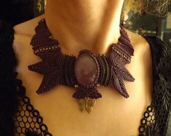 macramé necklace amethyst
