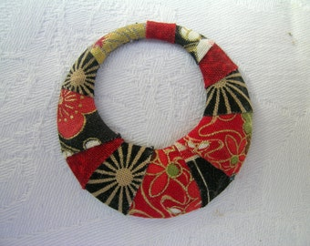 Red gold Japanese fabric wrapped pendant: a repurposed upcycled Japanese themed cotton fabric and vintage metal circular pendant
